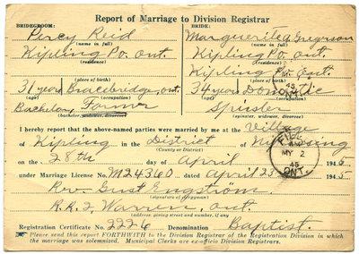 Certificat de mariage de / Marriage certificate of Percy Reid & Marguerite Gregrson