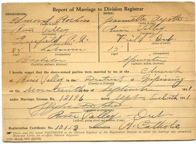 Certificat de mariage de / Marriage certificate of Edmond Rochon & Jeannette Ayotte