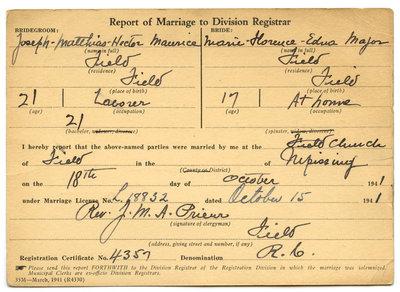 Certificat de mariage de / Marriage certificate of Joseph Mathias Hector Maurice & Marie Florence Edna Major