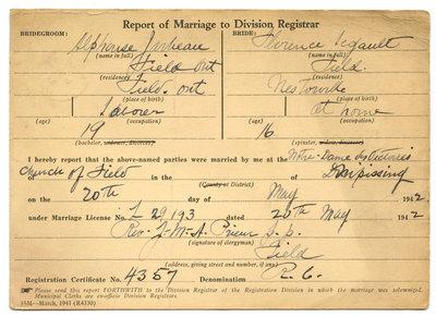 Certificat de mariage de / Marriage certificate of Alphonse Jarbeau & Florence Legault