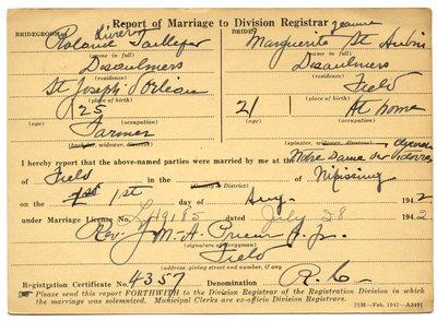 Certificat de mariage de / Marriage certificate of Roland Olivier Taillefer & Marguerite Jeanne St-Aubin