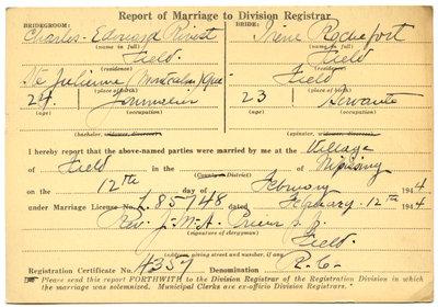 Certificat de mariage de / Marriage certificate of Charles-Edouard Rivest & Irène Rochefort