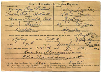 Certificat de mariage de / Marriage Certificate of Mervyn Ray Porteous & Inez Engstrom