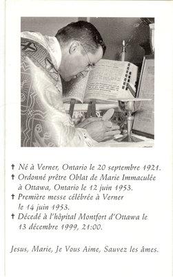 Carte mortuaire Lionel St-Amour