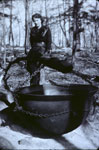 Evelyn Forbes with sap buckets