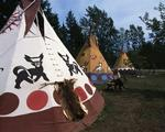 Ontario: Tobermory - Ojibway tents at Cha Mao Zah (long time ago) teepee village camping ground