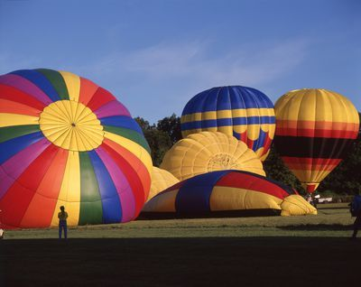 Ontario: Burlington area- giant hot-air balloons being inflated at Sky High Balloon Festival
