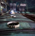 Ontario: Oakville- welding top sections of tank cars being built at railway rolling stock factory
