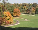 Ontario: Oakville- Glen Abbey Golf Club No 11 fairway, from men's tree, in maze of fall colouring