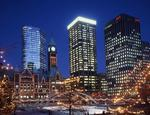 Ontario: Toronto - Old City Hall with festive illumination, surrounded by office towers