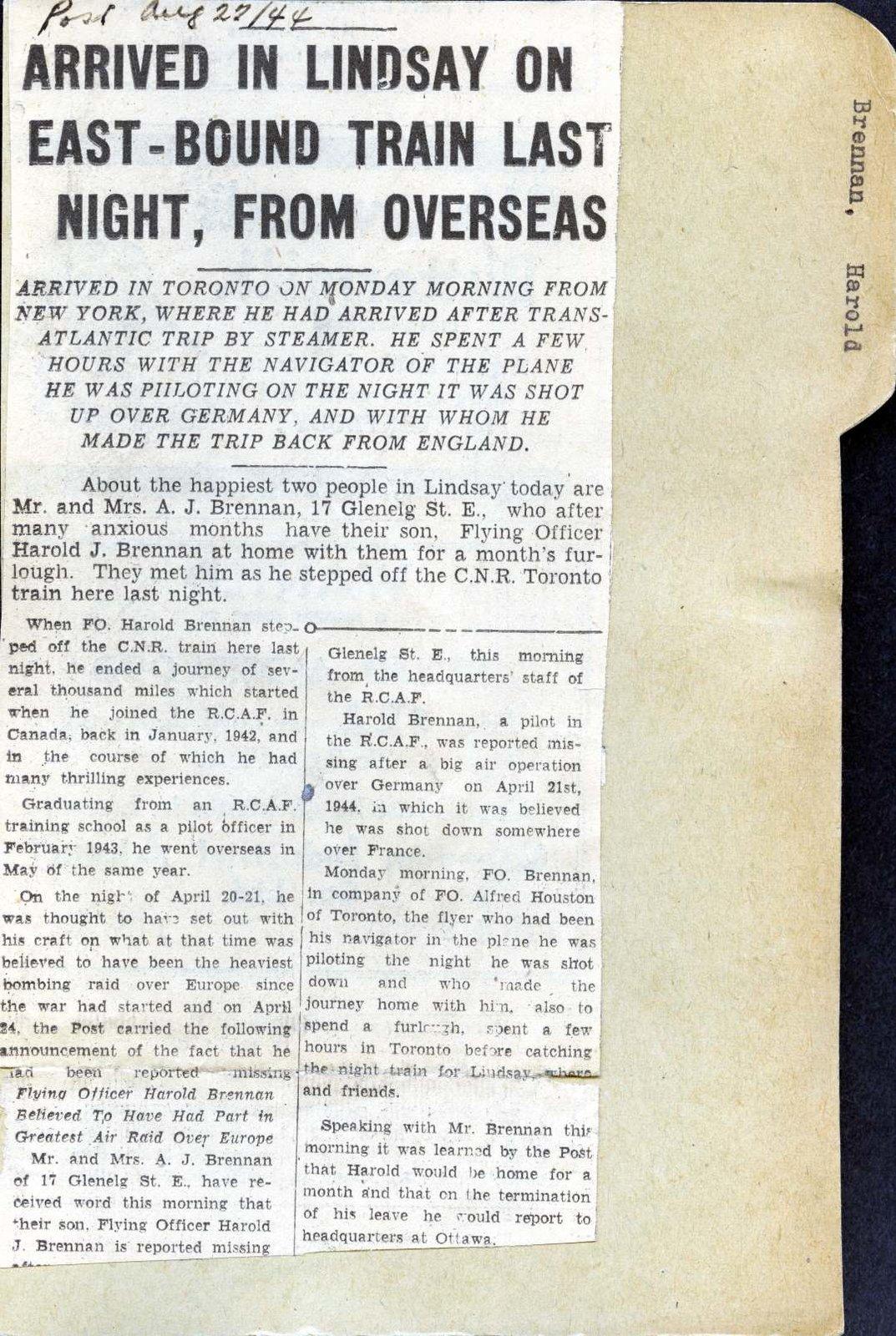 Pages 85-86: Brennan, Harold James
