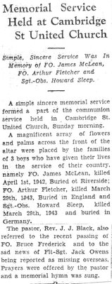 Memorial Service Held at Cambridge St. United Church