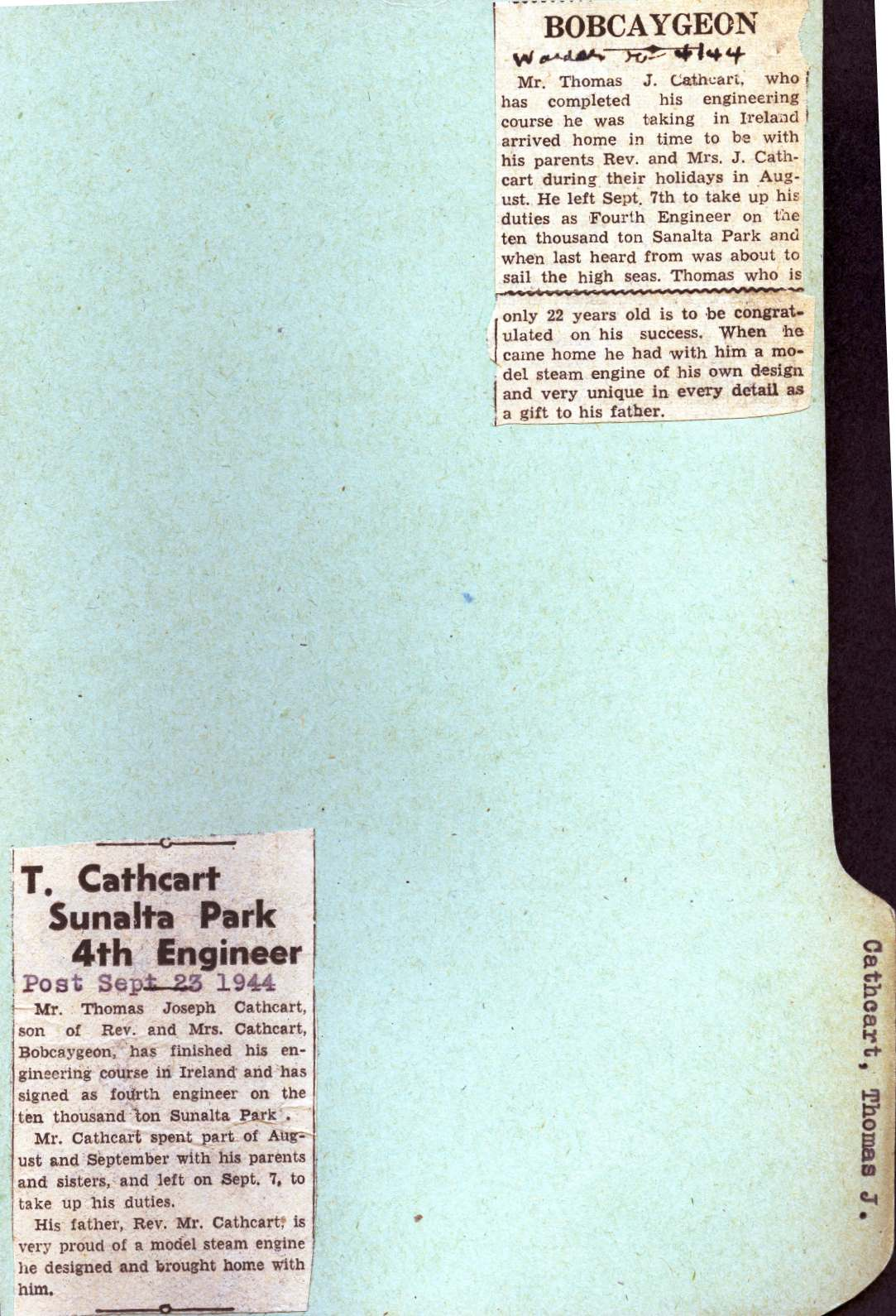 Pages 65-66: Cathcart, Thomas Joseph