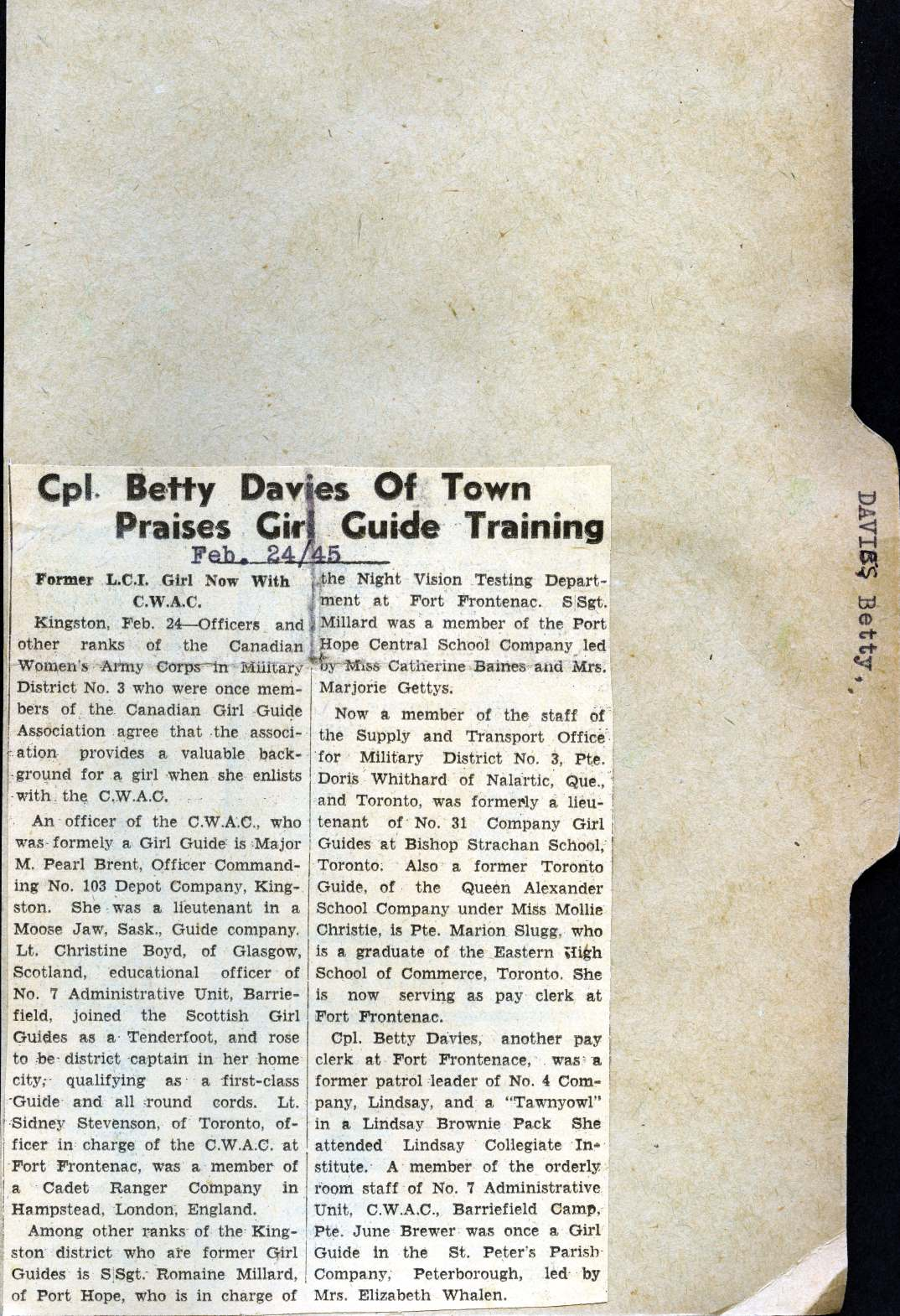 """Cpl. Betty Davis of Town Praises Girl Guide Training."" Courtesy the Kawartha Lakes Public Library."
