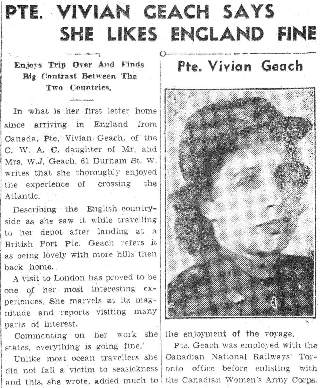 """Pte. Vivian Geach says she likes England fine"" from the Lindsay Post, August 14 1944. Courtesy the Kawartha Lakes Public Library Digital Archive."