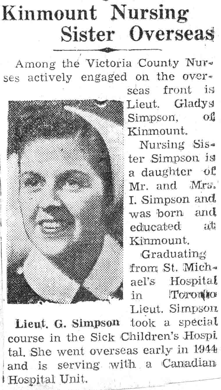 Clipping about overseas nurse Lieutenant Gladys Simpson of Kinmount. Courtesy the Kawartha Lakes Public Library Digital Archive.