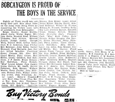 Bobcaygeon is proud of the boys in the service