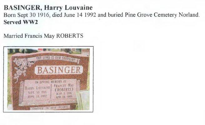 Page 139: Basinger, Harry Louvaine