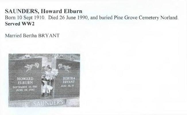 Page 319: Saunders, Howard Elburn