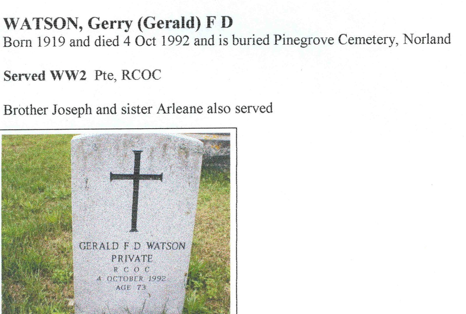 Page: Watson, Gerald (Gerry) F. D.