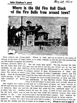 Where is the old fire hall clock and the fire bells from around town? - 16 May 1964