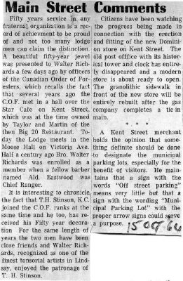 Main Street Comments - 15 October 1964