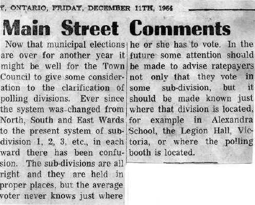 Main Street Comments - 11 December 1964