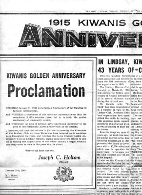 In Lindsay, Kiwanians have given 43 years of community service - 19 January 1965
