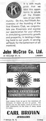 Congratulations Kiwanis - 19 January 1965