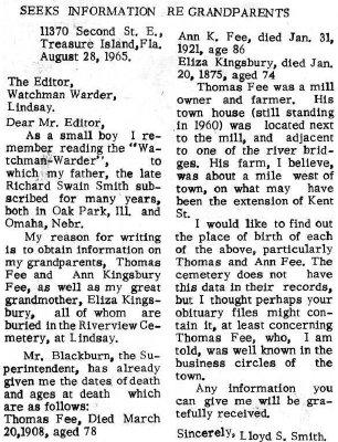 Correspondence - 28 August 1965