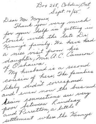 Correspondence - 14 September 1965