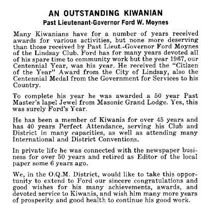 An Outstanding Kiwanian - March 1968