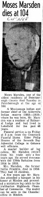 Moses Marsden dies at 104 - 31 October 1968