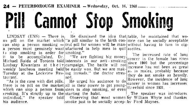 Pill Cannot Stop Smoking - 16 October 1968