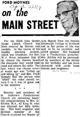 On the Main Street - 22 April 1969