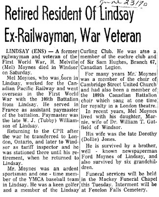 Retired Resident of Lindsay Ex-Railwayman, War Veteran - 23 June 1970
