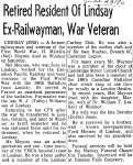 Retired Resident of Lindsay Ex-Railwayman, War Veteran