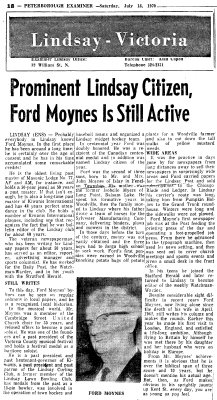 Prominent Lindsay Citizen, Ford Moynes is still active