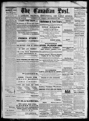 Canadian Post (Lindsay, ONT), 29 Dec 1865