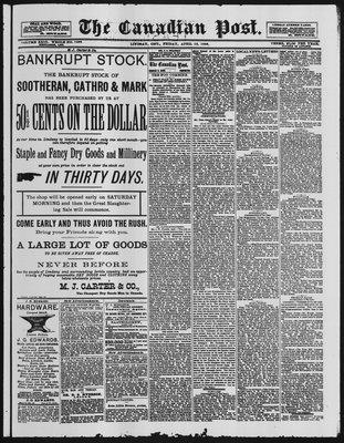 Canadian Post (Lindsay, ONT), 13 Apr 1888