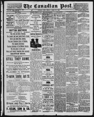 Canadian Post (Lindsay, ONT), 19 Apr 1889