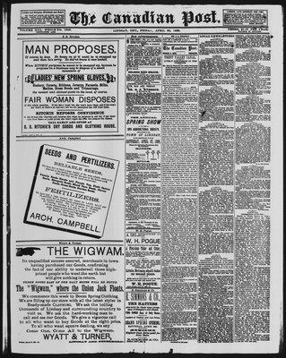 Canadian Post (Lindsay, ONT), 26 Apr 1889