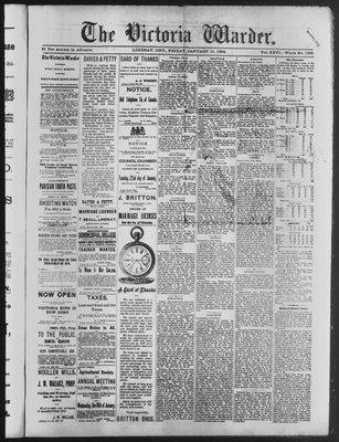 Victoria Warder (Lindsay, ONT), 11 Jan 1884