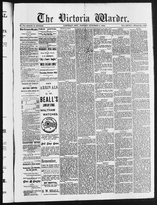 Victoria Warder (Lindsay, ONT), 3 Oct 1884