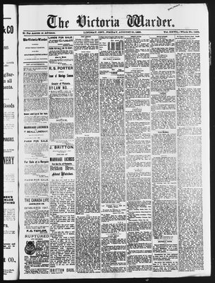 Victoria Warder (Lindsay, ONT), 21 Aug 1885