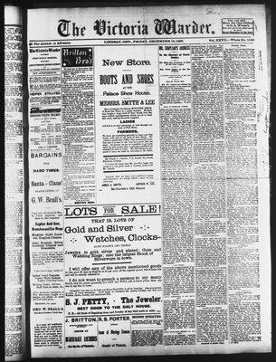 Victoria Warder (Lindsay, ONT), 18 Dec 1885