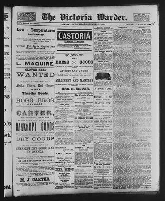 Victoria Warder (Lindsay, ONT), 7 Dec 1888