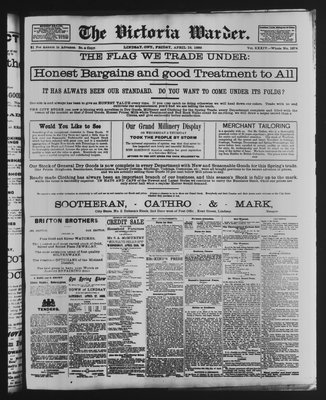 Victoria Warder (Lindsay, ONT), 19 Apr 1889