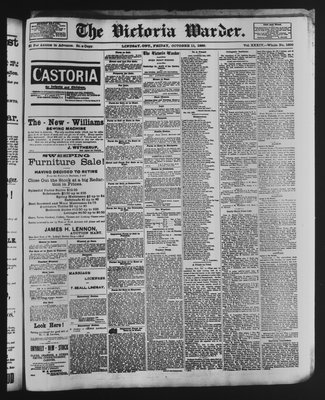 Victoria Warder (Lindsay, ONT), 11 Oct 1889