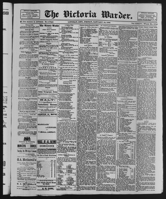 Victoria Warder (Lindsay, ONT), 24 Jan 1890